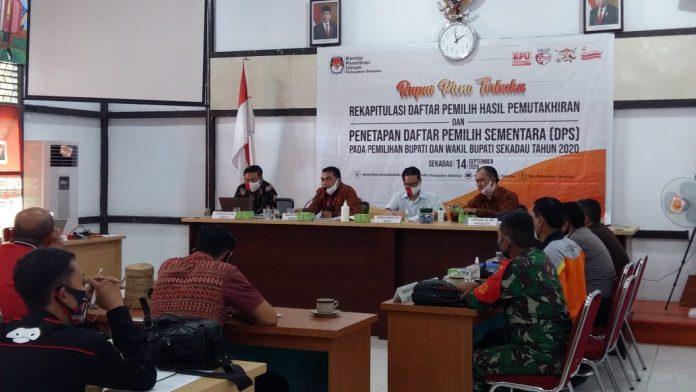 KPU Sekadau Melakukan Rapat Pleno Terbuka Rekapitulasi Daftar Pemilih Hasil Pemutakhiran dan Penetapan DPS di Kantor KPU Sekadau.