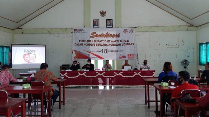 KPU sosialisasi pemilihan Bupati dan Wakil Bupati Sekadau dalam kondisi bencana nonalam covid 19.