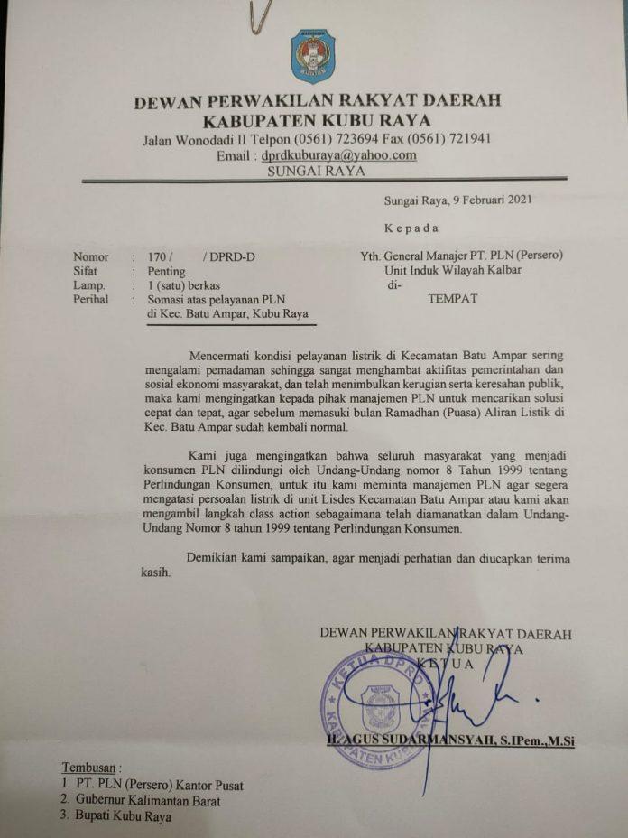 surat somasi DPRD Kubu Raya ditujukan ke PT PLN Kalbar