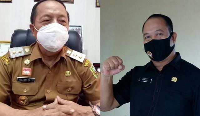 Wakil Ketua bidang kaderisasi DPC PDI Perjungan Sanggau yang juga Wakil Bupati Sanggau Yohanes Ontot dan Sekretaris DPC PDI Perjuangan Sanggau yang juga Ketua DPRD Sanggau Jumadi.