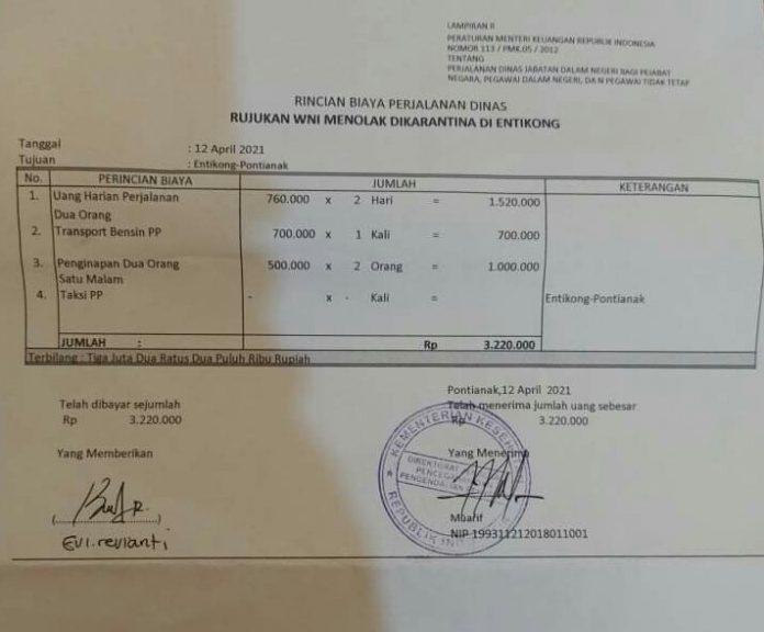 Bukti pembayaran yang dibayarkan oleh Evi Revianti ke petugas