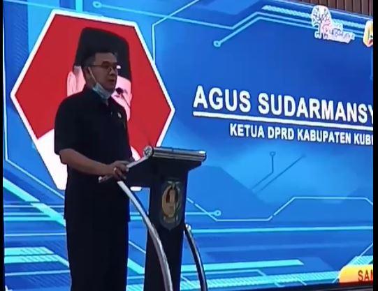 Ketua DPRD Kubu Raya Agus Sudarmansyah saat memberikan sambutan launching Corporate University
