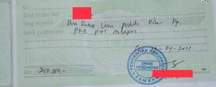 Kuitansi yang diungkapkan Kepala Dinas Kesehatan Kalbar dianggap pungli saat pegawai Bank BRI meminta kuitansi untuk klaim ke kantor
