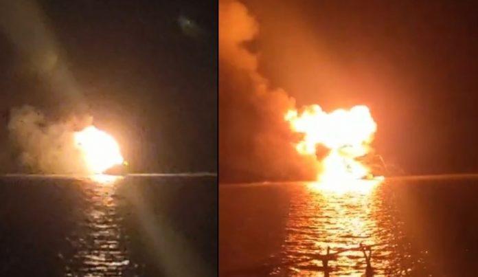 tugboat dengan nama Rejeki Bersama tiba-tiba terbakar di dekat Terminal Kijing atau di perairan Sui Kunyit Kabupaten Mempawah