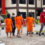 Tiga tersangka perdagangan orang ke Malaysia yang ditangkap petugas Polres Sanggau.